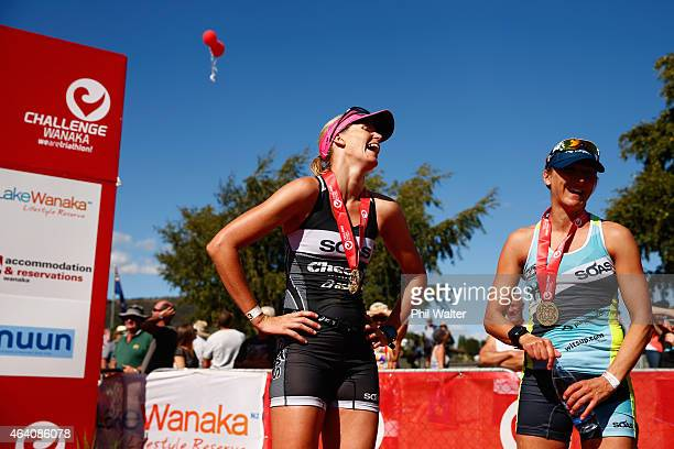 Michelle Bremer of New Zealand and Laura Siddall of Great Britain following the Challenge Wanaka on February 22 2015 in Wanaka New Zealand