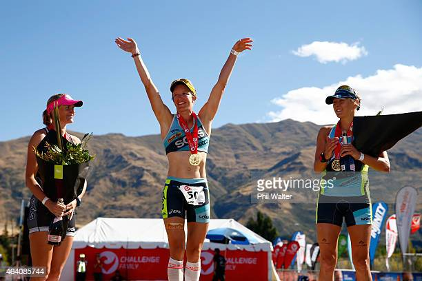 Michelle Bremer of New Zealand Gina Crawford of New Zealand and Laura Siddall of Great Britain celebrate on the podium following the Challenge Wanaka...