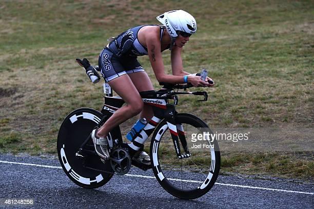 Michelle Bremer on the bike leg of the Port of Tauranga Half Ironman on January 10 2015 in Tauranga New Zealand