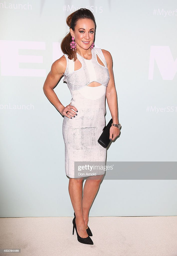 <a gi-track='captionPersonalityLinkClicked' href=/galleries/search?phrase=Michelle+Bridges&family=editorial&specificpeople=4213216 ng-click='$event.stopPropagation()'>Michelle Bridges</a> arrive at the Myer Spring Summer 2014 Fashion Launch at Carriageworks on August 7, 2014 in Sydney, Australia.