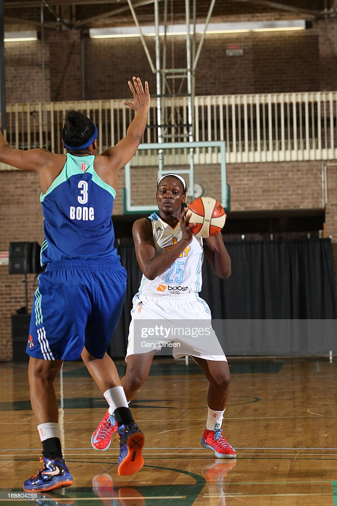 Michelle Campbell #25 of the Chicago Sky looks to shoot while guarded by <a gi-track='captionPersonalityLinkClicked' href=/galleries/search?phrase=Kelsey+Bone&family=editorial&specificpeople=5792056 ng-click='$event.stopPropagation()'>Kelsey Bone</a> #3 of the New York Liberty during the pre-season game on May 15, 2013 at the Jacoby D. Dickens Physical Education and Athletic Center on the campus of Chicago State University in Chicago, Illinois.