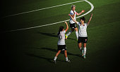 Michelle Carney Jessica Seaman and Caitlin Cooper of Wanderers celebrate victory in the round seven WLeague match between Western Sydney and Sydney...
