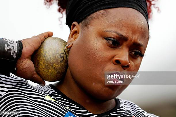 Michelle Carter competes on her way to placing first in the Women's Shot Put Final during the 2016 US Olympic Track Field Team Trials at Hayward...