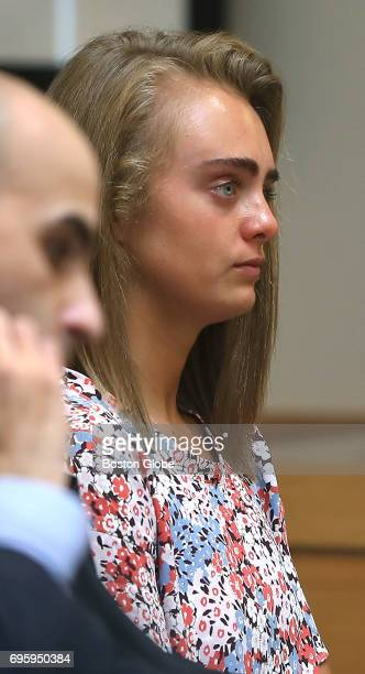 Michelle Carter focuses on Judge Lawrence Moniz after closing arguments were made during her trial in Bristol Juvenile Court in Taunton MA on Jun 13...