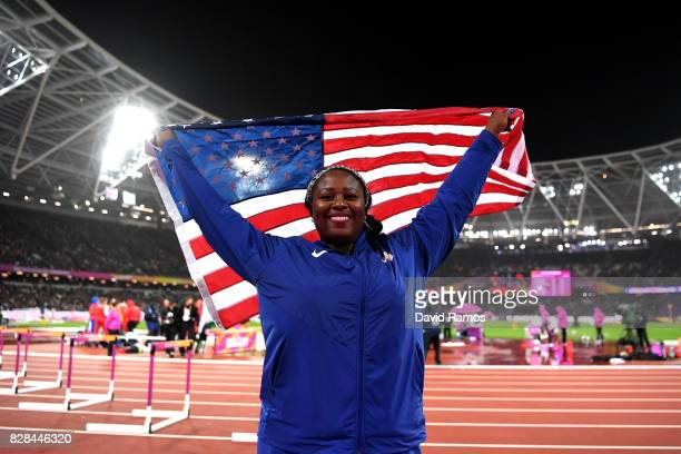 Michelle Carter of the United States celebrates after winning silver in the Women's Shot Put final during day six of the 16th IAAF World Athletics...