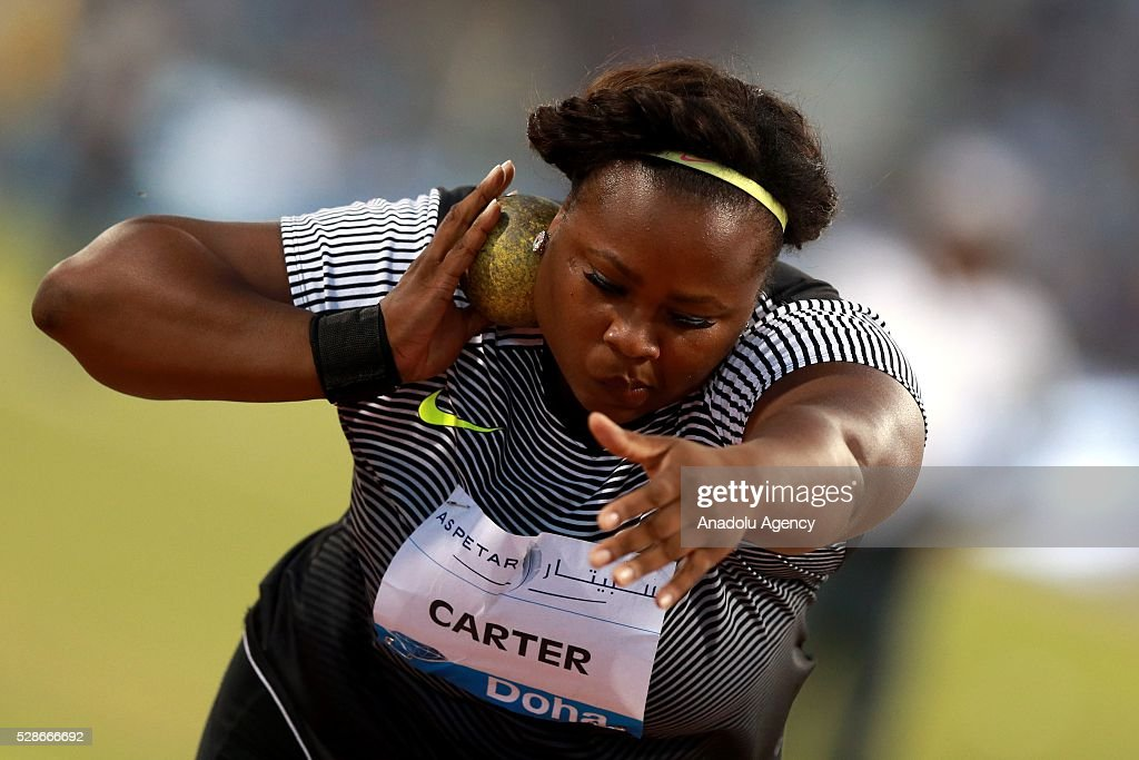 Michelle Carter of the United States competes in the Shot Put at the IAAF Diamond League 2016 competition at the Suheim Bin Hamad Stadium in Doha, Qatar on May 6, 2016.