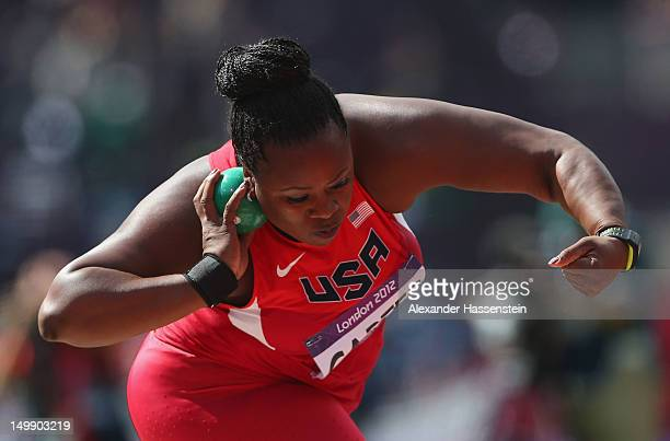Michelle Carter of the United States competes in the Women's Shot Put qualification on Day 10 of the London 2012 Olympic Games at the Olympic Stadium...