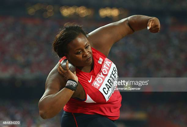 Michelle Carter of the United States competes in the Women's Shot Put final during day one of the 15th IAAF World Athletics Championships Beijing...