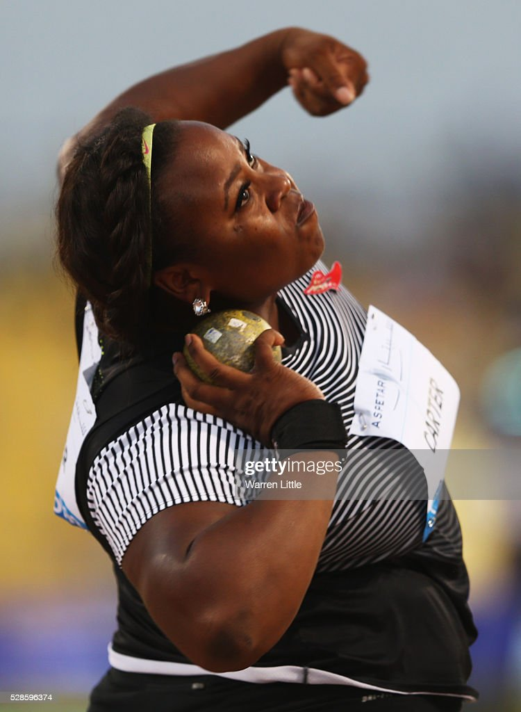Michelle Carter of the United States competes in the Women's Shot Put final during the Doha IAAF Diamond League 2016 meeting at Qatar Sports Club on May 6, 2016 in Doha, Qatar.