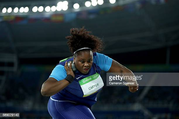 Michelle Carter of the United States competes in the Women's Shot Put Final on Day 7 of the Rio 2016 Olympic Games at the Olympic Stadium on August...