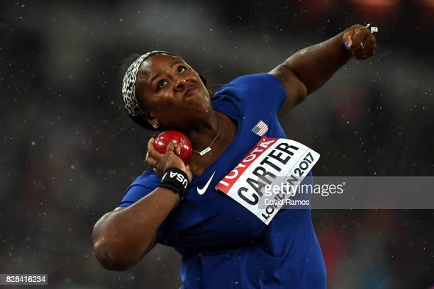 Michelle Carter of the United States competes in the Women's Shot Put final during day six of the 16th IAAF World Athletics Championships London 2017...