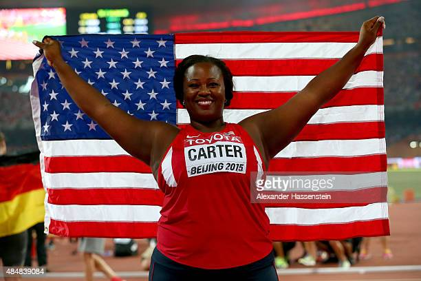 Michelle Carter of the United States wins bronze in the Women's Shot Put final during day one of the 15th IAAF World Athletics Championships Beijing...