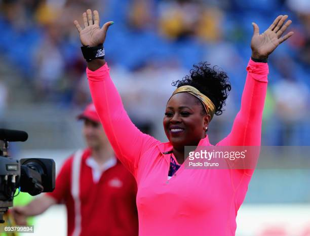 Michelle Carter of United States greets the fans during the shot put women at the Golden Gala Pietro Mennea at Stadio Olimpico on June 8 2017 in Rome...