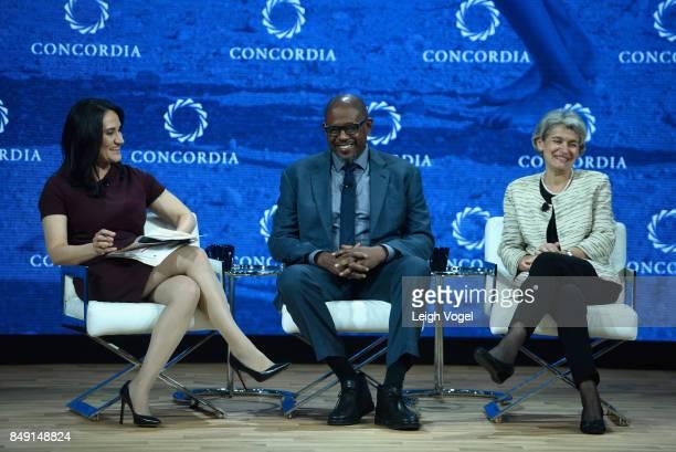 Michelle CarusoCabrera Chief Correspondent NBCU Forest Whitaker UNESCO Special Envoy for Peacel and Irina Bokova Director General UNESCO attend The...