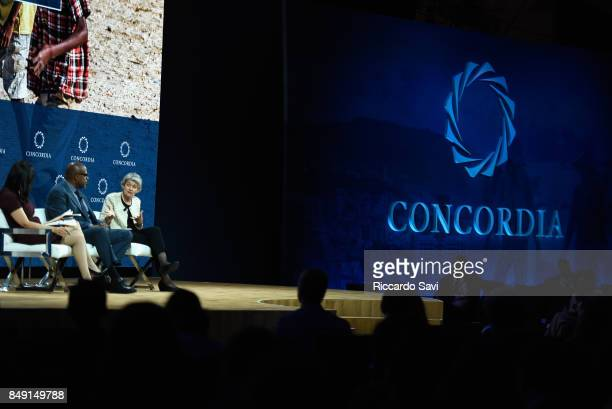 Michelle CarusoCabrera Chief Correspondent NBCU Forest Whitaker UNESCO Special Envoy for Peace and Irina Bokova Director General UNESCO attend The...