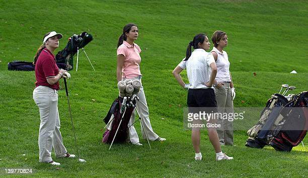 Michelle Cormeir Daniela Gelleni Mei Lin and Ines Barrutia watch another golfers drive at Wellesley Country Club They play for the newly formed...
