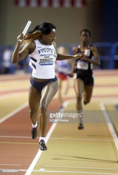 Michelle Cumberbatch of Lincoln celebrates at the finish line during the Division II Men's and Women's Indoor Track and Field Championships held at...