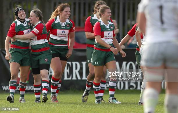 Michelle Davis of Firwood Waterloo Ladies celebrates scoring a try during the Tyrrells Premier 15 at The Memorial Ground on September 16 2017 in...