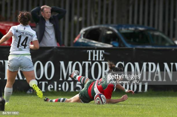 Michelle Davis of Firwood Waterloo Ladies scores a try during the Tyrrells Premier 15 at The Memorial Ground on September 16 2017 in Liverpool England