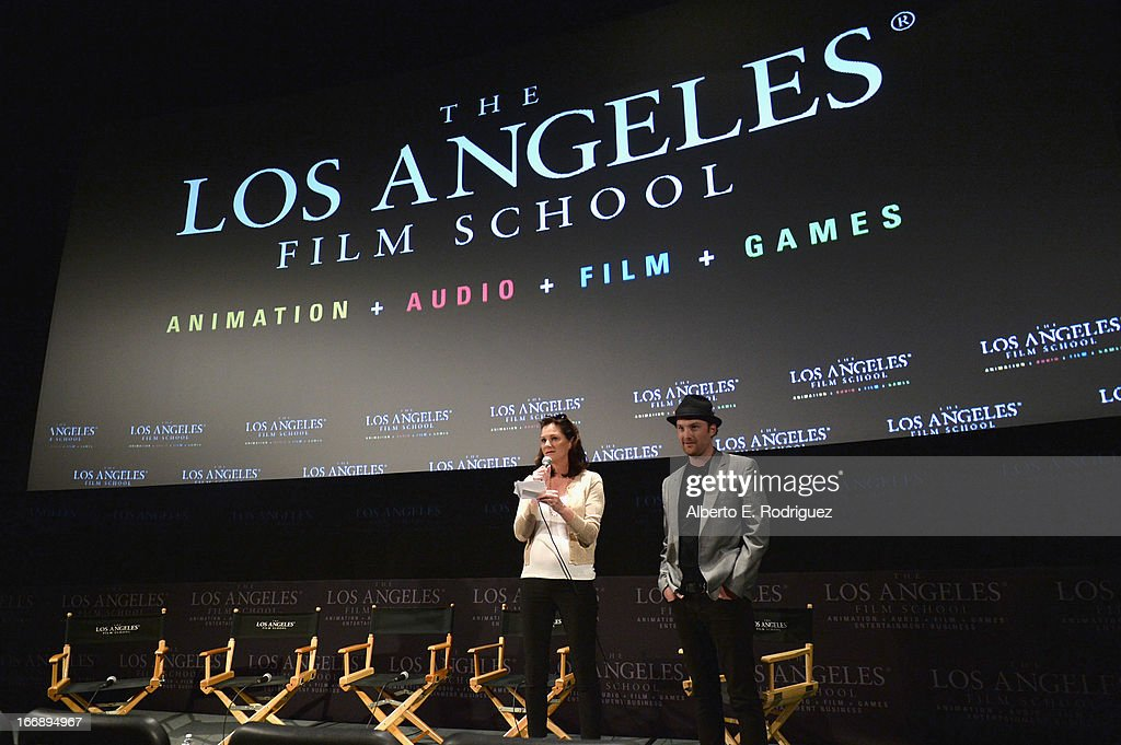 Michelle Day and writer/director Richard Gray attend Australians In Film's screening of Revival Film Company's 'Blinder' at Los Angeles Film School on April 17, 2013 in Los Angeles, California.