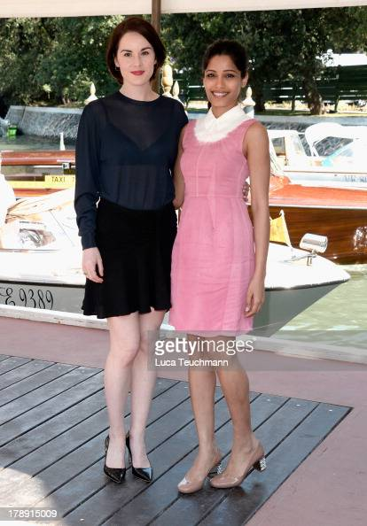 Michelle Dockery and Freida Pinto attend Miu Miu Women's Tales Talks during the 70th Venice International Film Festival at Excelsior Hotel on August...