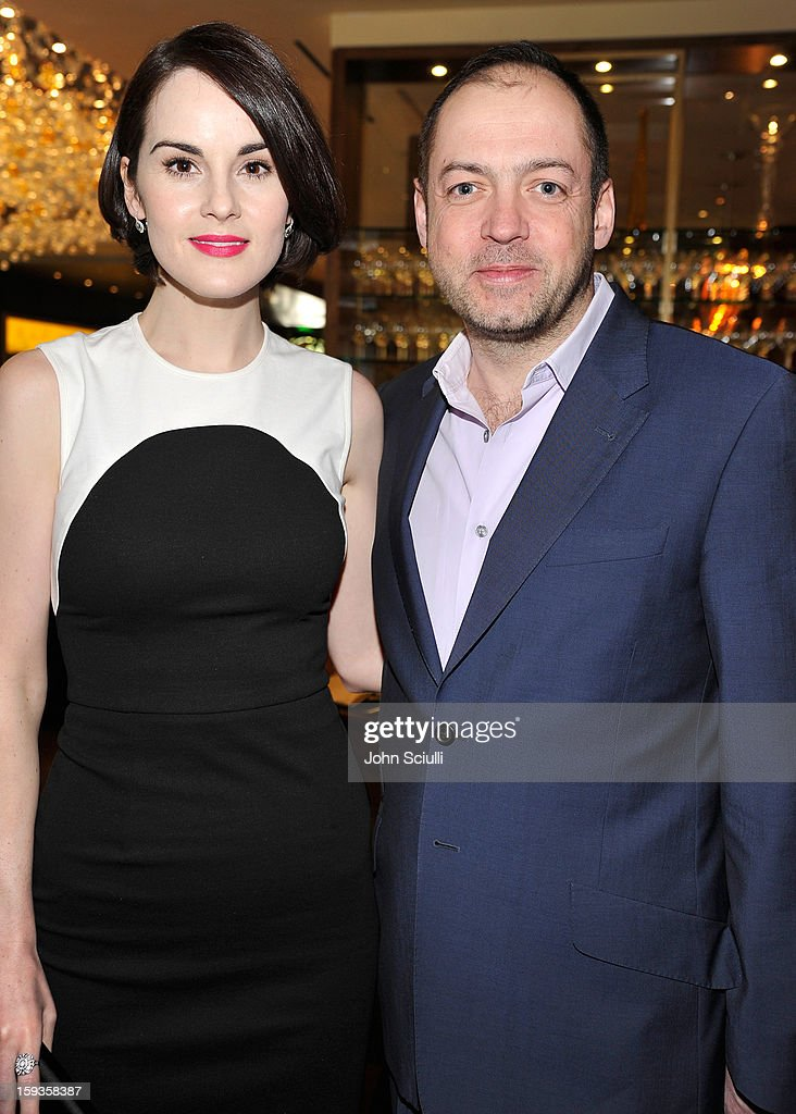 Michelle Dockery and Gareth Neame attend a Golden Globe lunch hosted by BritWeek chairman Bob Peirce honoring Julian Fellowes, Gareth Neame and Michelle Dockery at Four Seasons Hotel Los Angeles at Beverly Hills on January 12, 2013 in Beverly Hills, California.