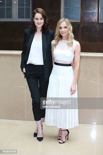 Michelle Dockery and Joanne Froggatt attend the press launch of 'Downton Abbey' at May Fair Hotel on August 13 2015 in London England