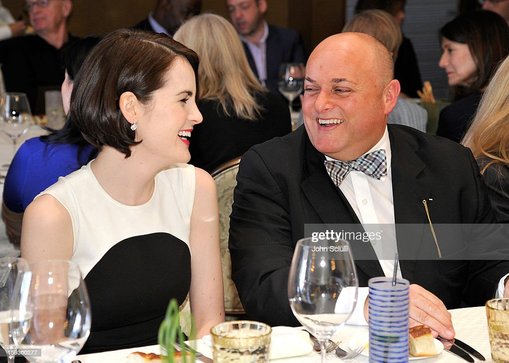 Michelle Dockery and Nigel Daly attend a Golden Globe lunch hosted by BritWeek chairman Bob Peirce honoring Julian Fellowes, Gareth Neame and Michelle Dockery at Four Seasons Hotel Los Angeles at Beverly Hills on January 12, 2013 in Beverly Hills, California.