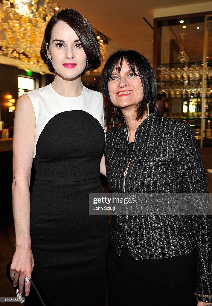 Michelle Dockery and Sharon Harroun Peirce attend a Golden Globe lunch hosted by BritWeek chairman Bob Peirce honoring Julian Fellowes, Gareth Neame and Michelle Dockery at Four Seasons Hotel Los Angeles at Beverly Hills on January 12, 2013 in Beverly Hills, California.
