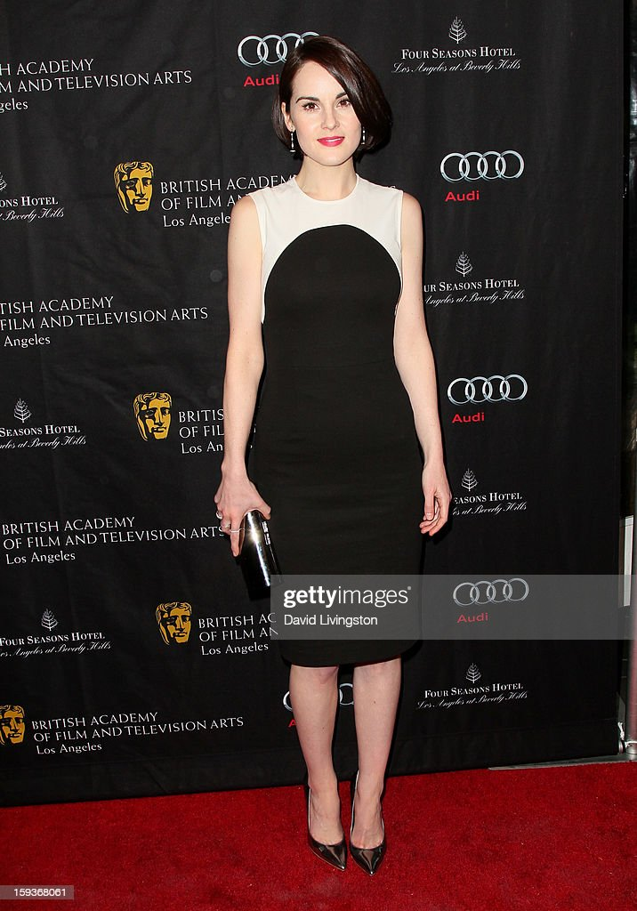 <a gi-track='captionPersonalityLinkClicked' href=/galleries/search?phrase=Michelle+Dockery&family=editorial&specificpeople=4047702 ng-click='$event.stopPropagation()'>Michelle Dockery</a> arrives at the BAFTA Los Angeles 2013 Awards Season Tea Party held at the Four Seasons Hotel Los Angeles on January 12, 2013 in Los Angeles, California.