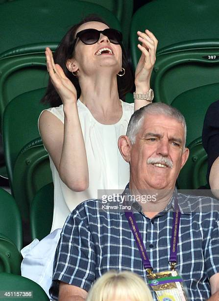 Michelle Dockery attends the Martin Klizan v Rafael Nadal match on centre court during day two of the Wimbledon Championships at Wimbledon on June 24...