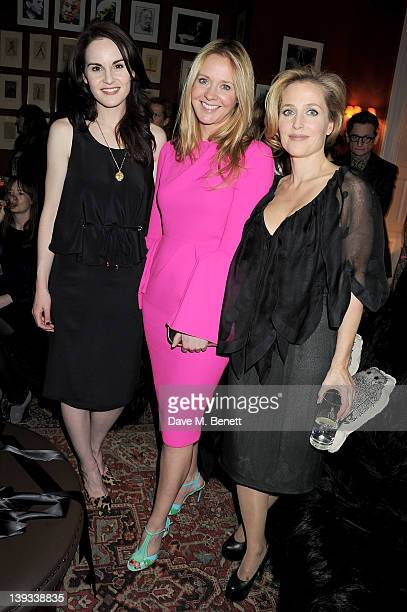 Michelle Dockery Kate Reardon and Gillian Anderson attend a dinner following the Mulberry Autumn/Winter 2012 show during London Fashion Week at The...