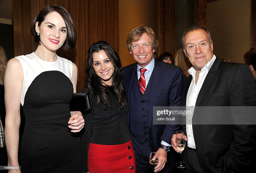 Michelle Dockery, Lauren Stone, Nigel Lythgoe and Simon Wright attend a Golden Globe lunch hosted by BritWeek chairman Bob Peirce honoring Julian Fellowes, Gareth Neame and Michelle Dockery at Four Seasons Hotel Los Angeles at Beverly Hills on January 12, 2013 in Beverly Hills, California.