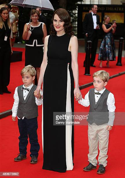 Michelle Dockery Oliver Barker and Zac Barker attends as BAFTA celebrate 'Downton Abbey' at Richmond Theatre on August 11 2015 in Richmond England