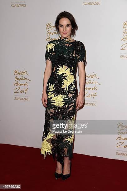 Michelle Dockery poses in the winners room at the British Fashion Awards at London Coliseum on December 1 2014 in London England