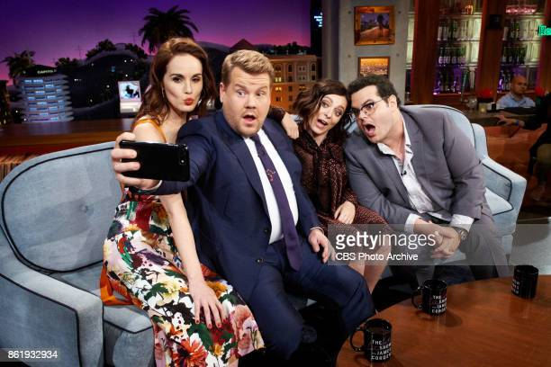 Michelle Dockery Rachel Bloom and Josh Gad chat with James Corden during 'The Late Late Show with James Corden' Wednesday October 11 2017 On The CBS...