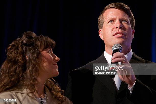 Michelle Duggar and Jim Bob Duggar of The Learning Channel TV show '19 Kids and Counting' speak at the Values Voter Summit on September 17 2010 in...