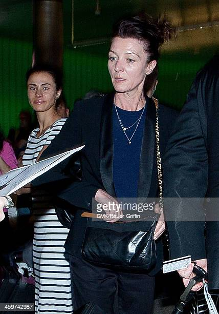 Michelle Fairley is seen at Los Angeles International Airport on March 17 2013 in Los Angeles California