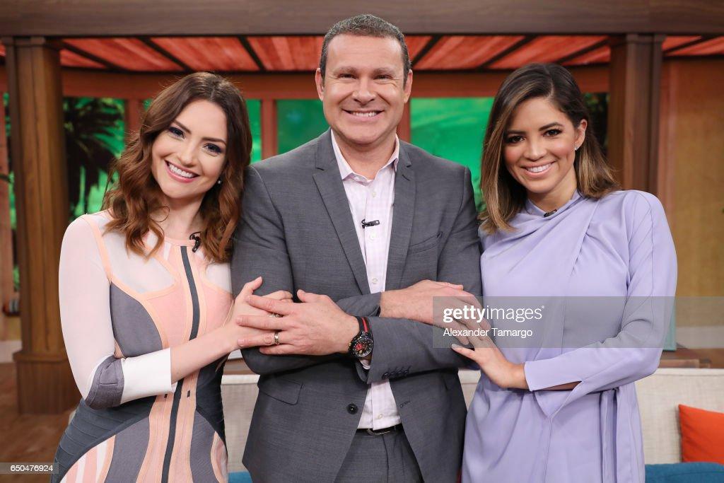 Michelle Galvan, Alan Tacher and Pamela Silva are seen on the set of 'Despierta America' at Univision Studios on March 9, 2017 in Miami, Florida.