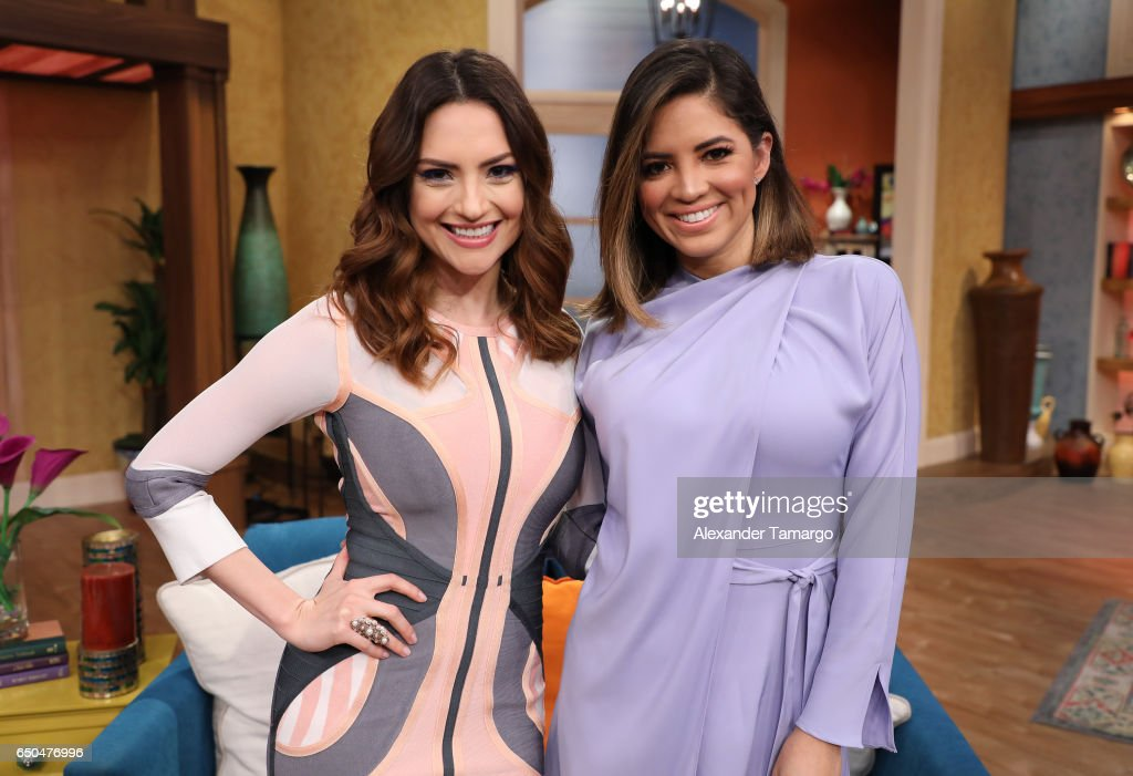 Michelle Galvan and Pamela Silva are seen on the set of 'Despierta America' at Univision Studios on March 9, 2017 in Miami, Florida.