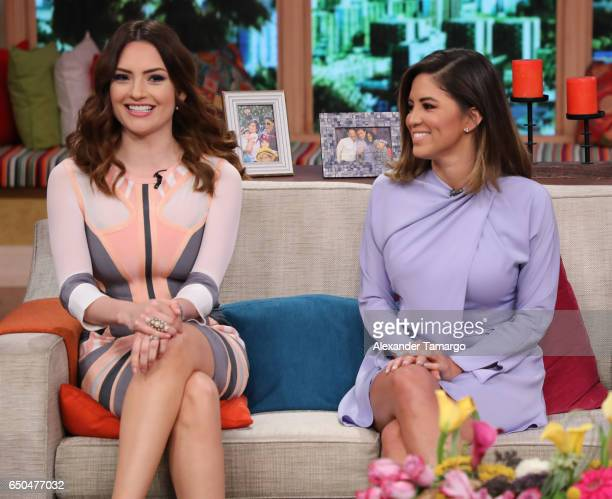 Michelle Galvan and Pamela Silva are seen on the set of 'Despierta America' at Univision Studios on March 9 2017 in Miami Florida