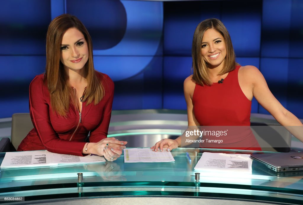 Michelle Galvan (L) and Pamela Silva are seen on the set of 'Primer Impacto' at Univision's Newsport Studios on March 13, 2017 in Miami, Florida.
