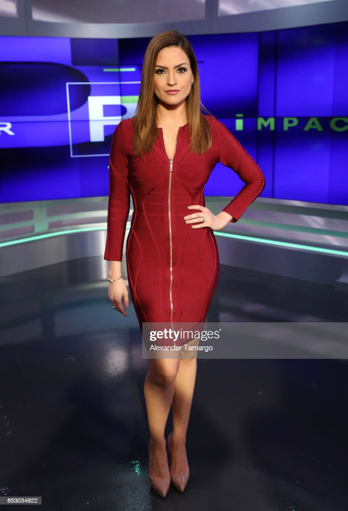 Michelle Galvan is seen during her first day as new co-host of 'Primer Impacto' at Univision's Newsport Studios on March 13, 2017 in Miami, Florida.