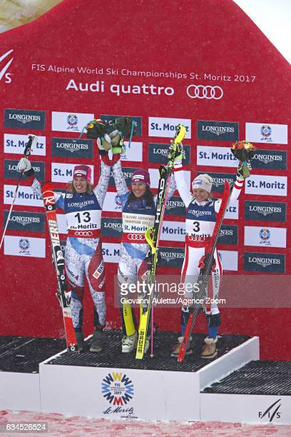 Michelle Gisin of Switzerland wins the silver medal Wendy Holdener of Switzerland wins the gold medal Michaela Kirchgasser of Austria wins the bronze...