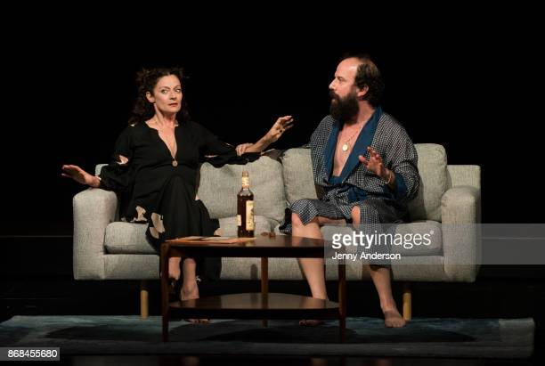 Michelle Gomez and Brett Gelman perform during 24 Hour Plays on Broadway at American Airlines Theatre on October 30 2017 in New York City