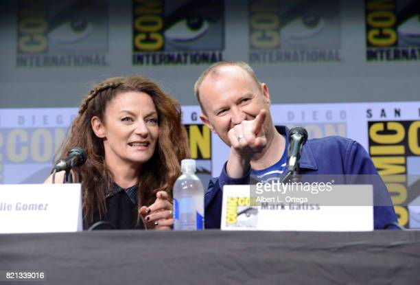Michelle Gomez and Mark Gatiss at 'Doctor Who' BBC America official panel during ComicCon International 2017 at San Diego Convention Center on July...