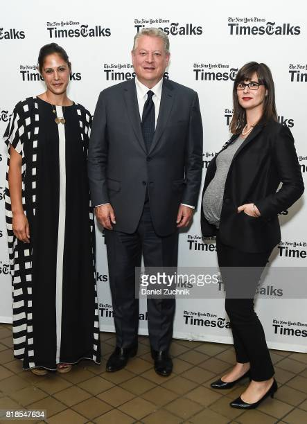 Michelle Grey former Vice President Al Gore and moderator Coral Davenport attend the Times Talks Presents Al Gore at Tribeca Performing Arts Center...