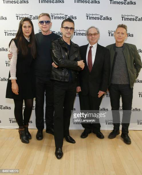 Michelle Grey of Times Talks Andy Fletcher Dave Gahan moderator Jon Percles and Martin Gore of Depeche Mode attend 'TimesTalks Presents Depeche Mode'...