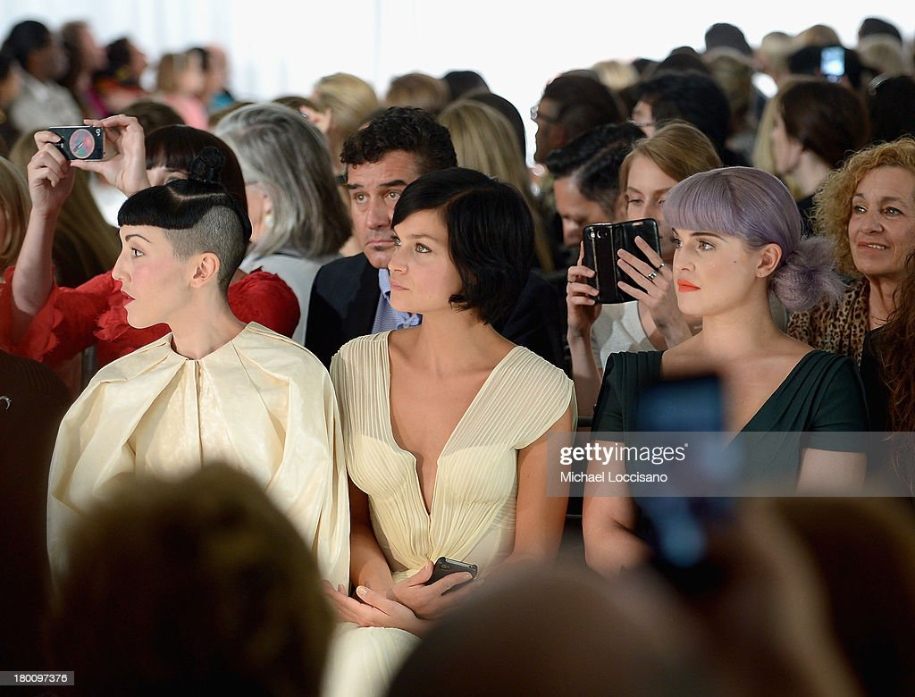 Michelle Harper, Leigh Lezark and Kelly Osbourne attend the Zac Posen fashion show during Mercedes-Benz Fashion Week Spring 2014 at Center 548 on September 8, 2013 in New York City.