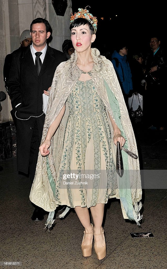 <a gi-track='captionPersonalityLinkClicked' href=/galleries/search?phrase=Michelle+Harper&family=editorial&specificpeople=4860960 ng-click='$event.stopPropagation()'>Michelle Harper</a> seen arriving to the Oscar de la Renta show on February 12, 2013 in New York City.